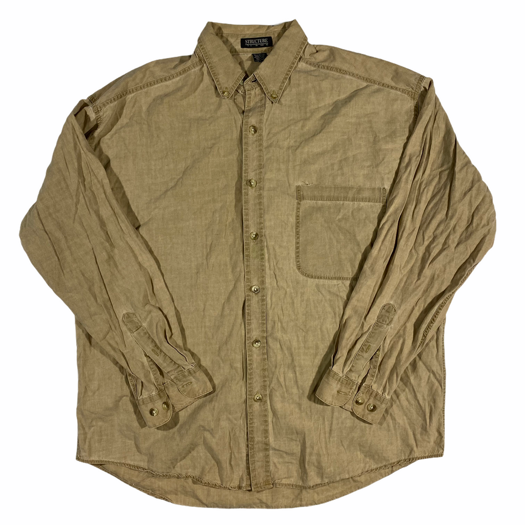 Structure cotton rayon blend button down shirt. large
