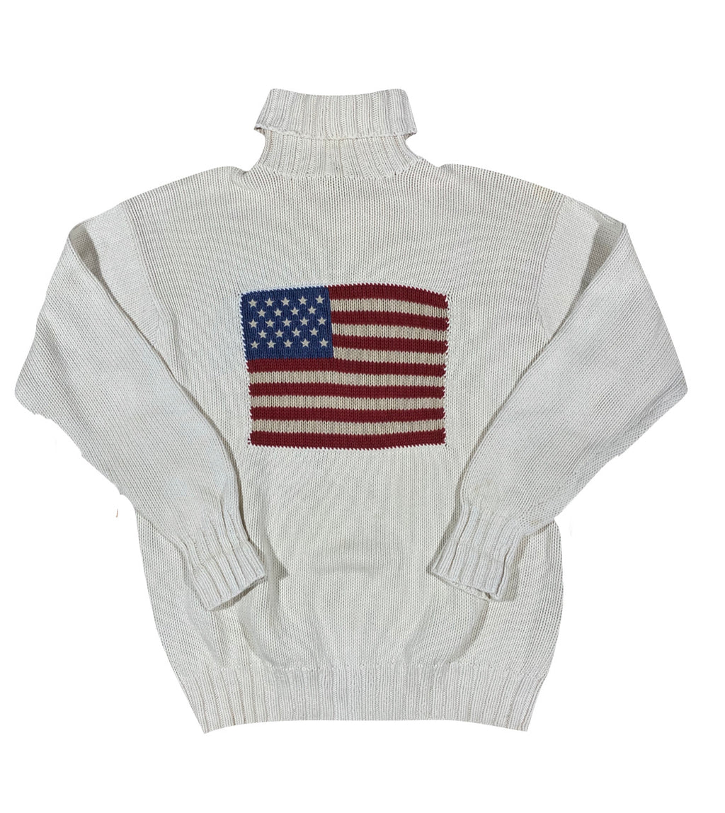 Polo cotton knit flag turtleneck. large