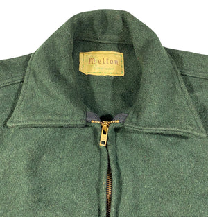 70s Melton wool zip shirt jacket large
