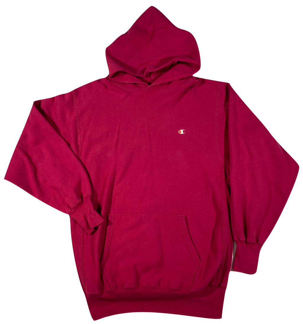 90s Champion reverse weave hooded sweatshirt. Berry  XXL