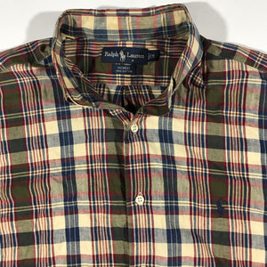 Polo ralph lauren plaid light cotton button down. medium