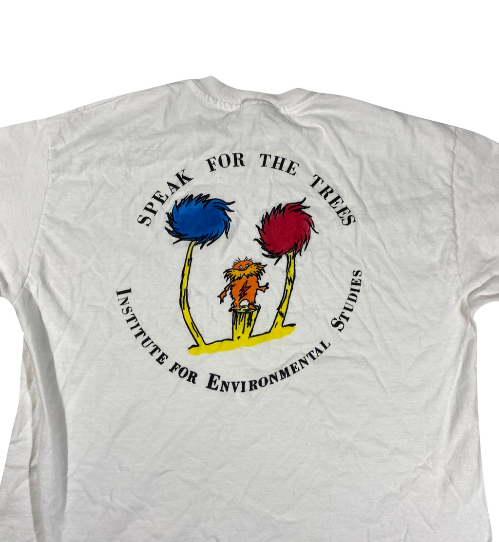 """I am the Lorax who speaks for the trees"" 80s Institute of environmental studies Dr seuss tee. large"