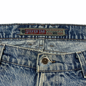 1980's Levi's Silvertab acid wash. Made in USA. 38x29.