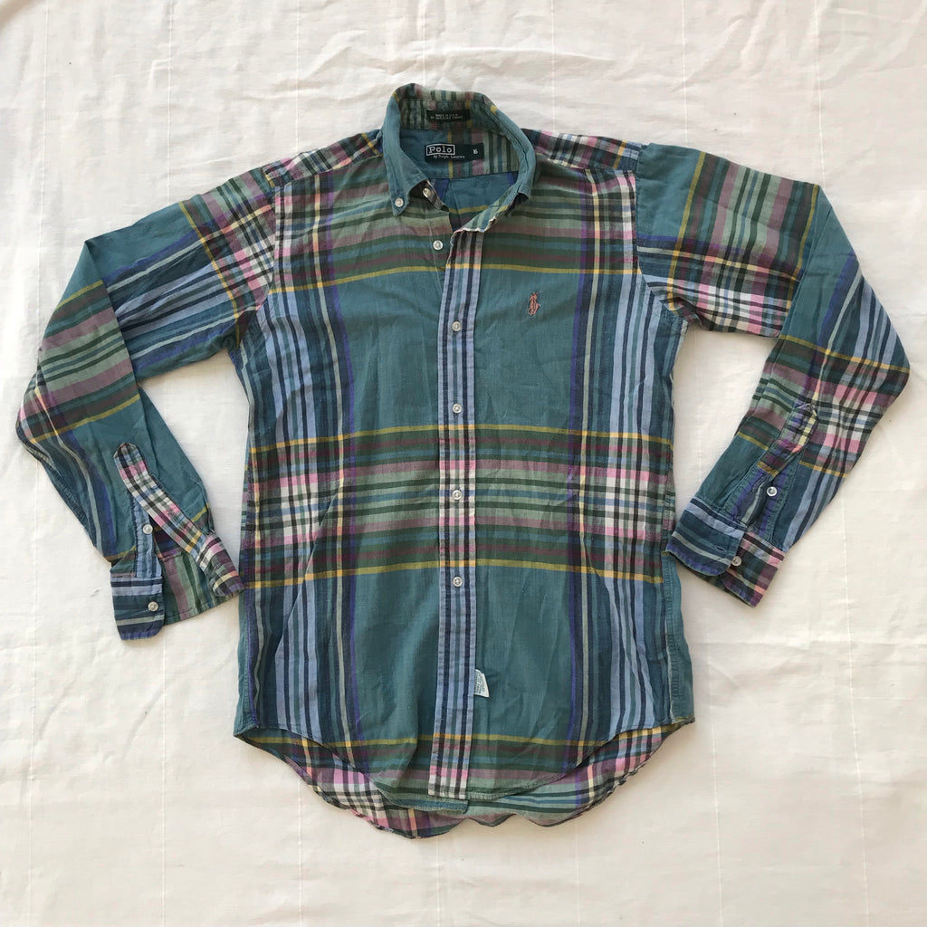 f09b538a 90s Polo ralph lauren plaid. made in usa. Small