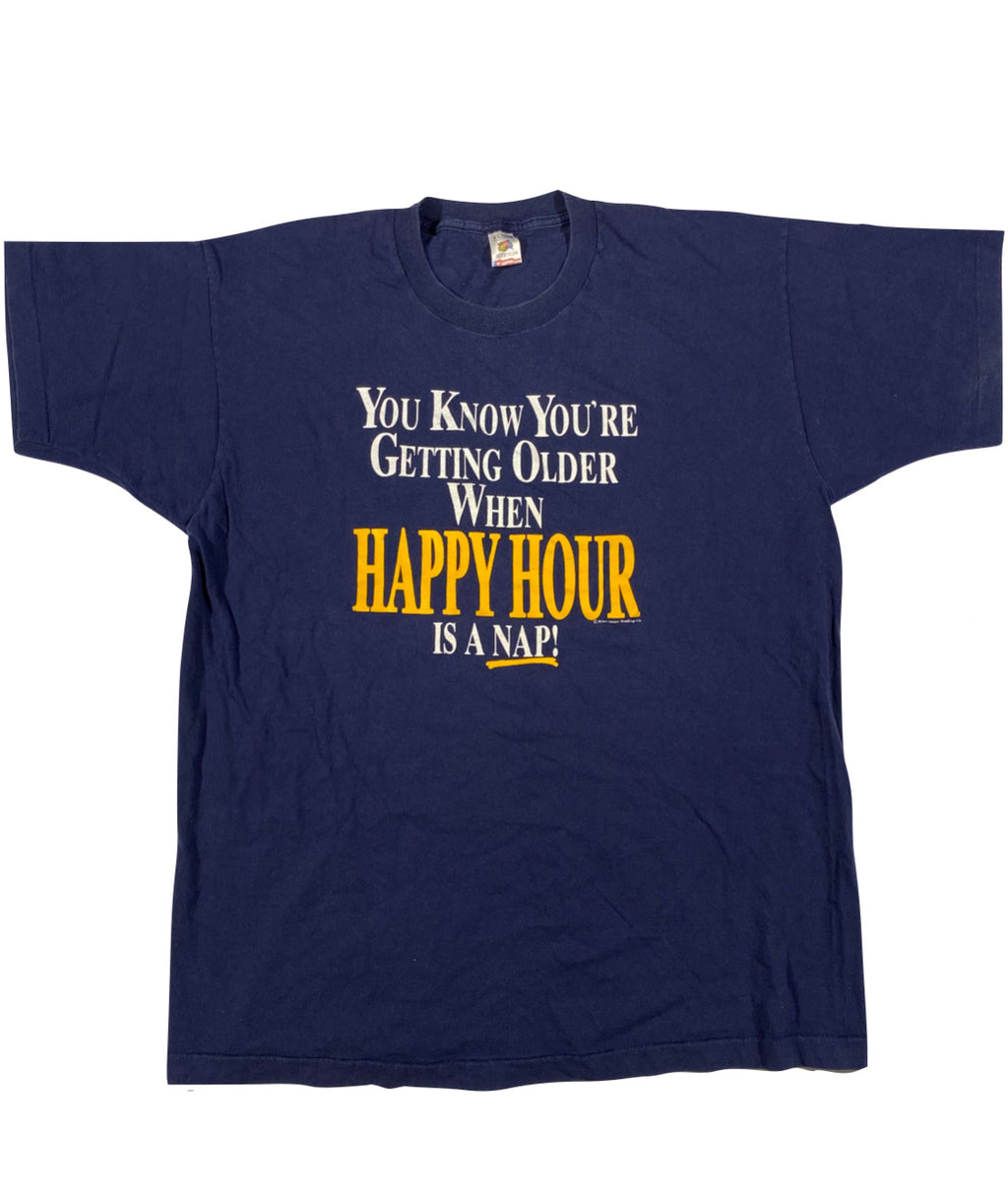 90s Happy hour is a nap tee. XL