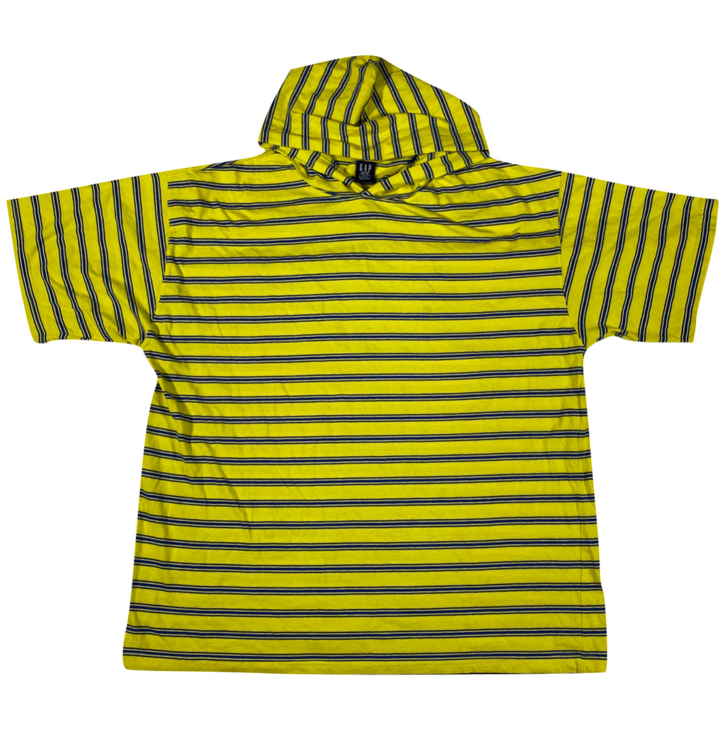 90s Gap striped hooded tee L/XL