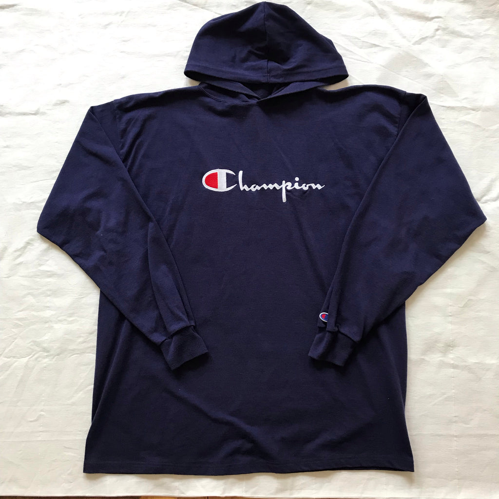 Champion thick longsleeve hoodies. L/XL fit. Black and Blue
