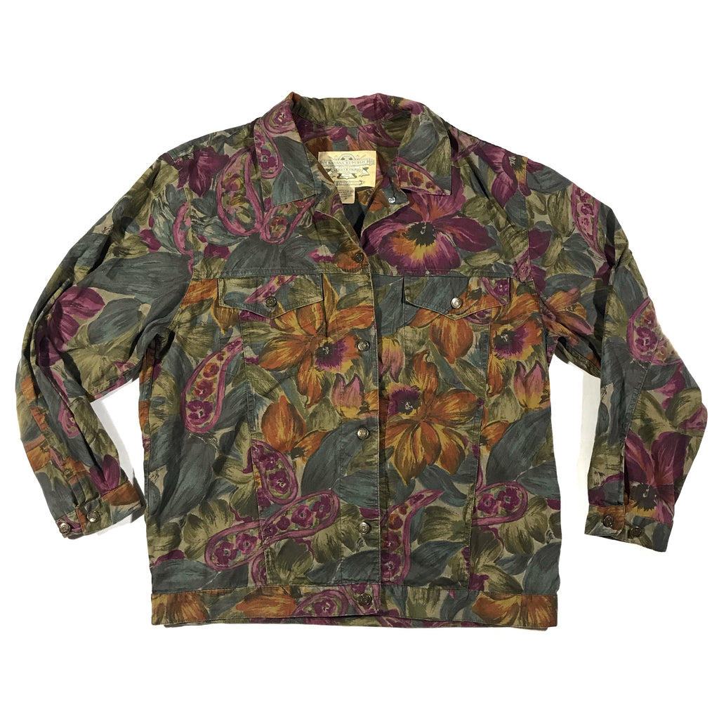 90s Banana republic safari & travel light weight floral jacket. Built like a denim jacket but made from shirt material. small