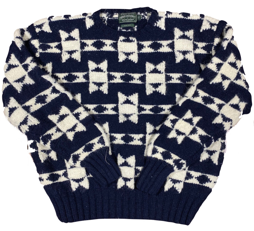 Polo country wool sweater. hand knit large