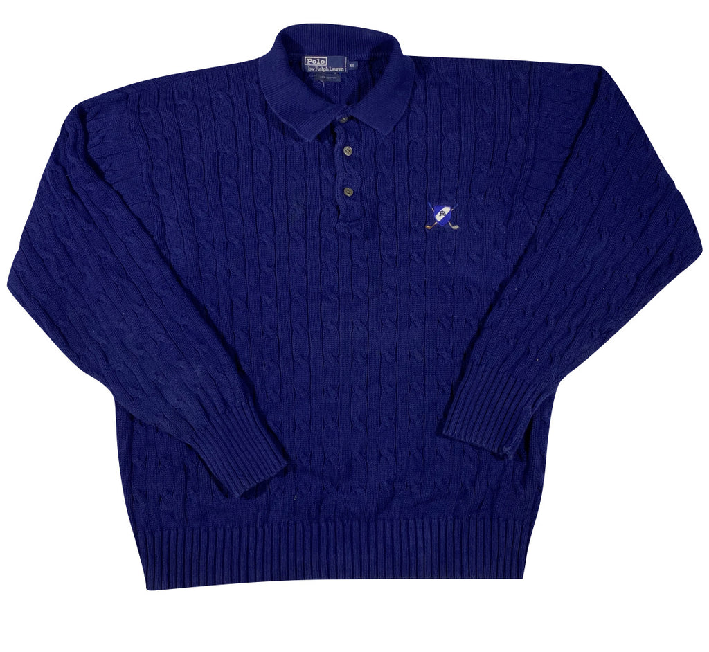 Polo cable knit cotton sweater. XL/XXL