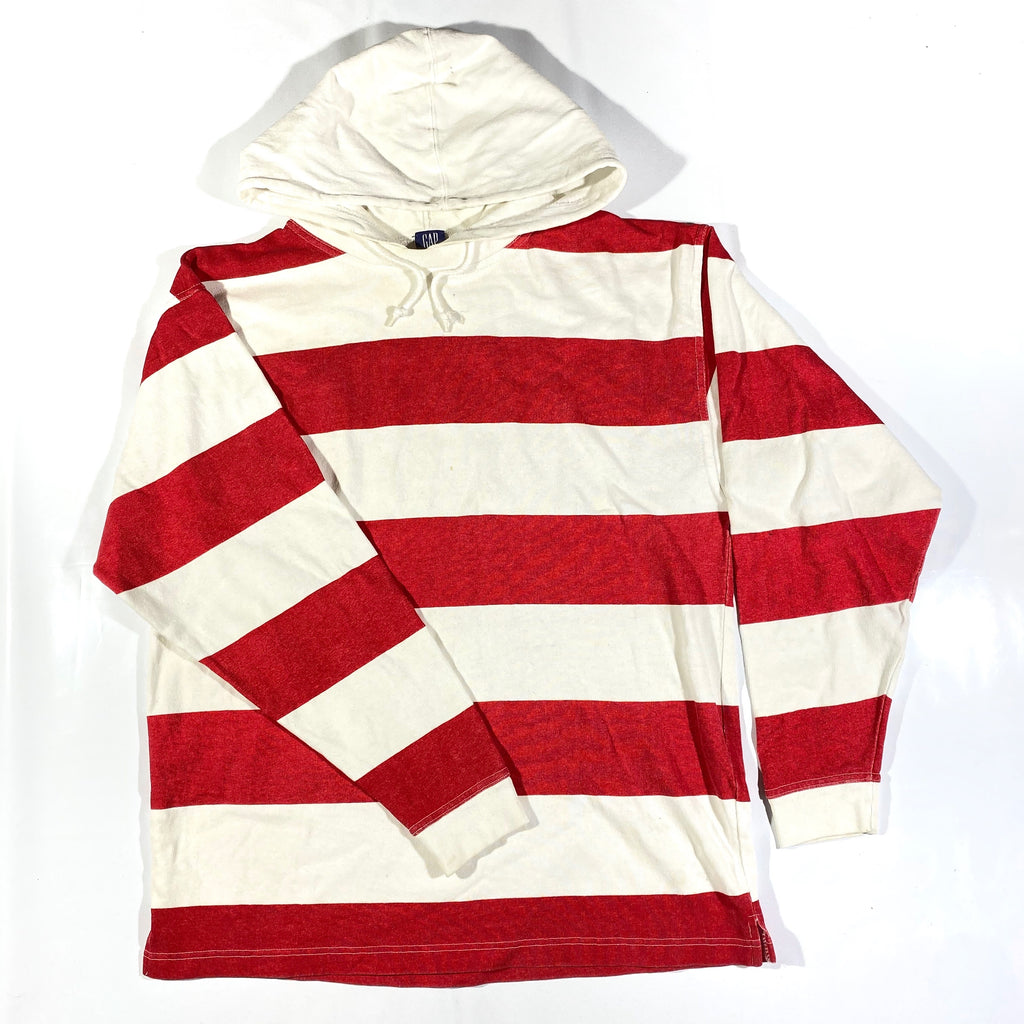 90s Gap striped hooded long sleeve. large fit