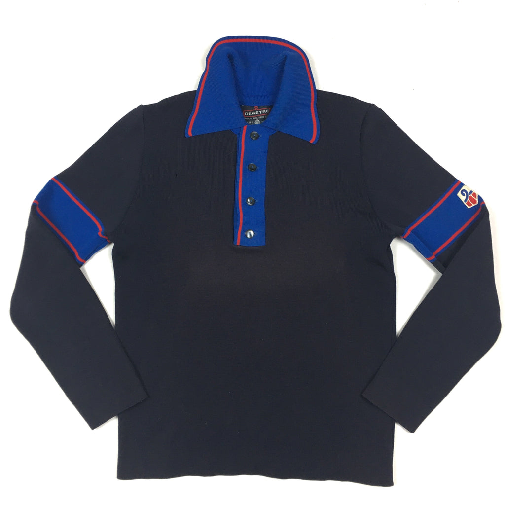 1980s Demetre Wool Polo Long Sleeve Shirt