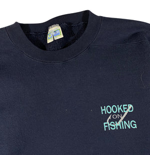 90s Hooked on fishing heavyweight sweatshirt XL