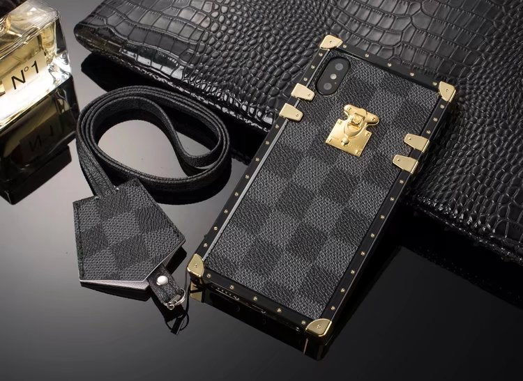new style b1e80 a3549 Louis Vuitton Leather Trunk Phone Case For iPhone X