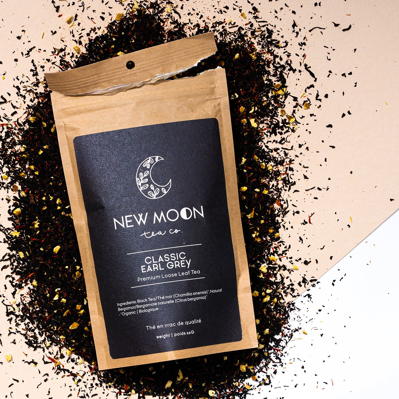Elate Ethical Marketplace New Moon Organic Loose Leaf tea as part of our holiday christmas collection. Classic earl grey in a recycled kraft paper pouch.