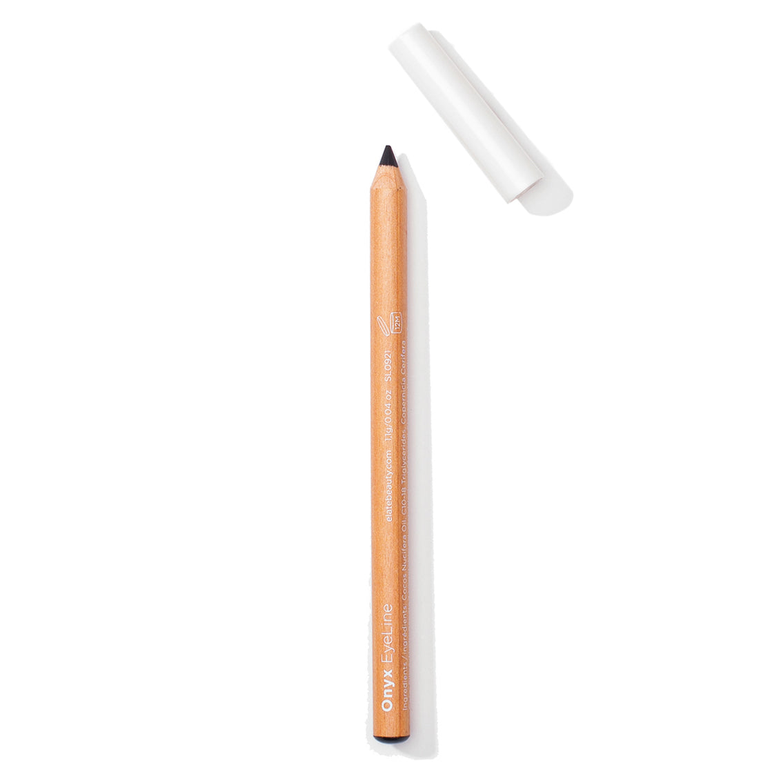 Elate Cosmetics, a low-waste and sustainable eye pencils for clean beauty vegan lifestyle. Natural black matte finish. Recycled Wood and biodegradable lid