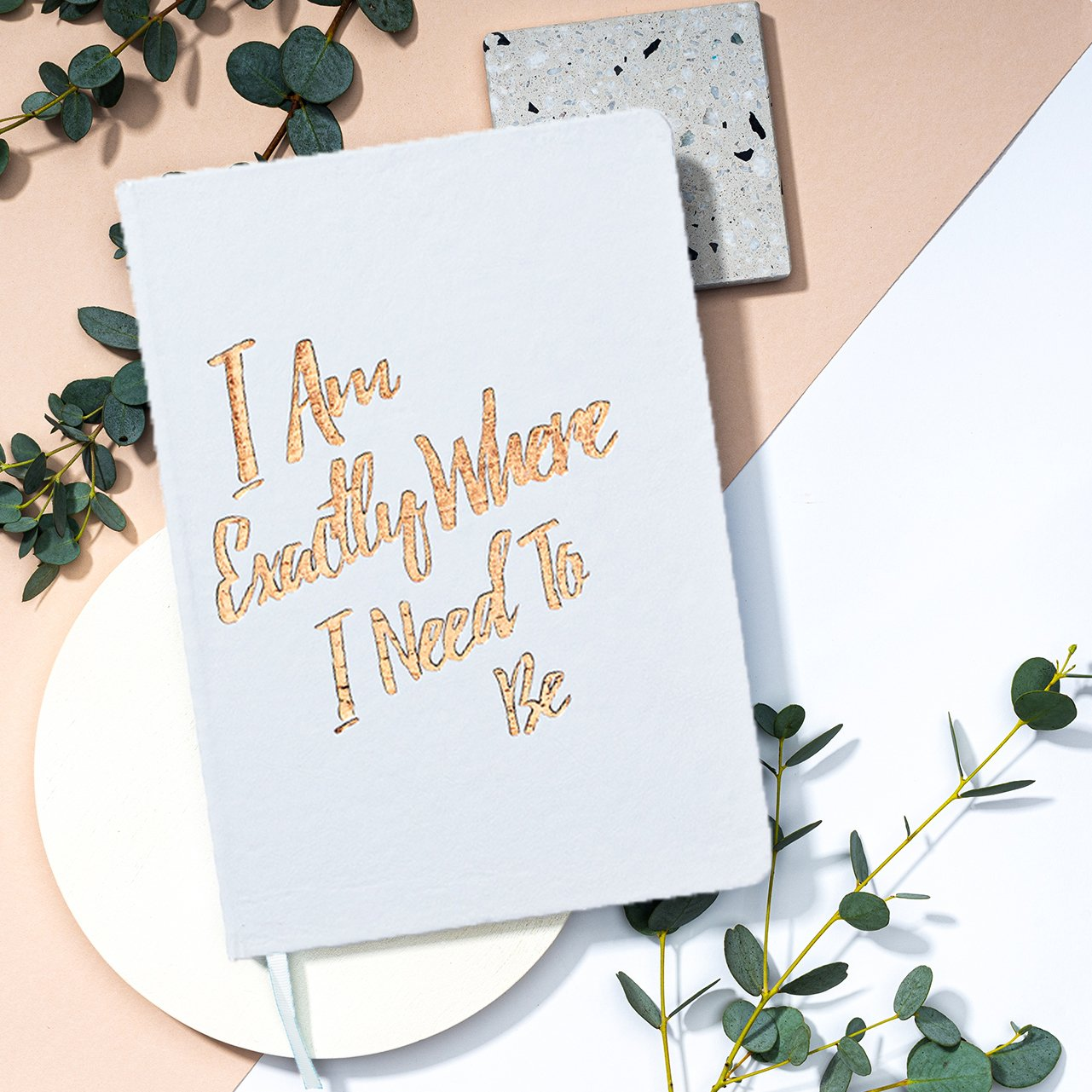 Elate Ethical Marketplace holiday christmas gift giving guide. PleaseNotes - Affirmation-Filled Goods - Best Guided Journals 2020 - black and gold foil font.