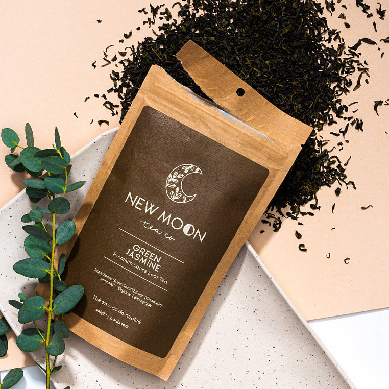 Elate Ethical Marketplace New Moon Organic Loose Leaf tea as part of our holiday christmas collection. Jasmine Green Tea comes in a recycled kraft paper pouch.