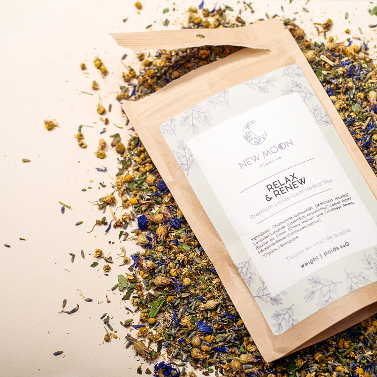 Elate Ethical Marketplace New Moon Organic Loose Leaf tea as part of our holiday christmas collection. Relax and Renew is a calming herbal tea that comes in a recycled kraft paper pouch. Perfect for evening, to encourage a restful sleep.