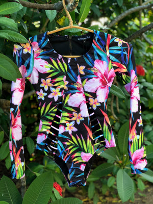 MIDNIGHT TROPICS LONG-SLEEVE SUIT