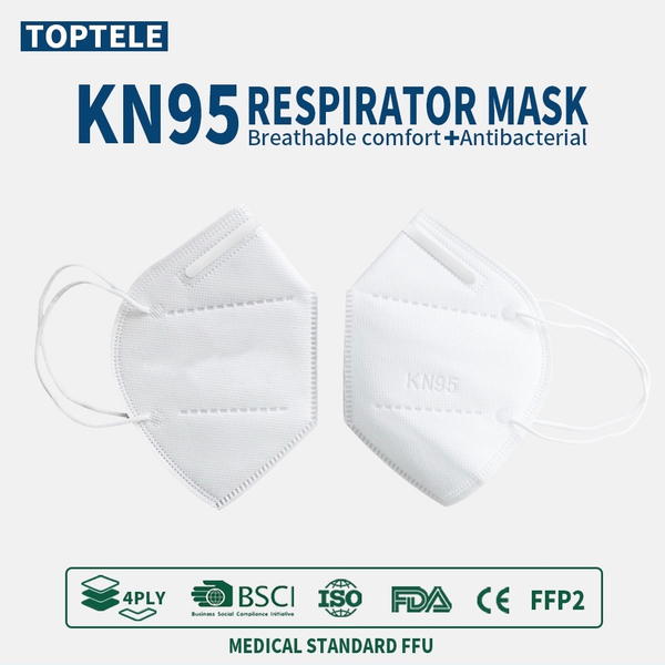 KN95 4-Layer Filtering Respirator Mask CE/ECM Certified - 20 Pack Sealed