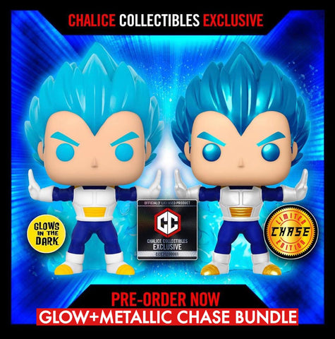 Dragon Ball Super - Set of (Powering Up) Super Saiyan Vegeta Glow+ Metallic Chase Bundle