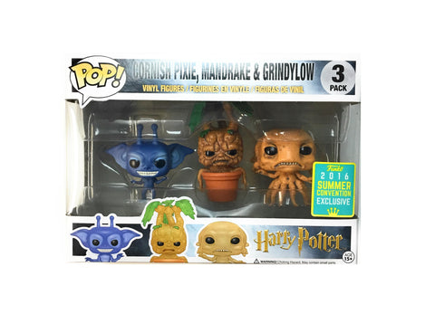 POP! Harry Potter - Cornish Pixie, Mandrake & Grindylow 3 Pack - 2016 Summer Convention Exclusive