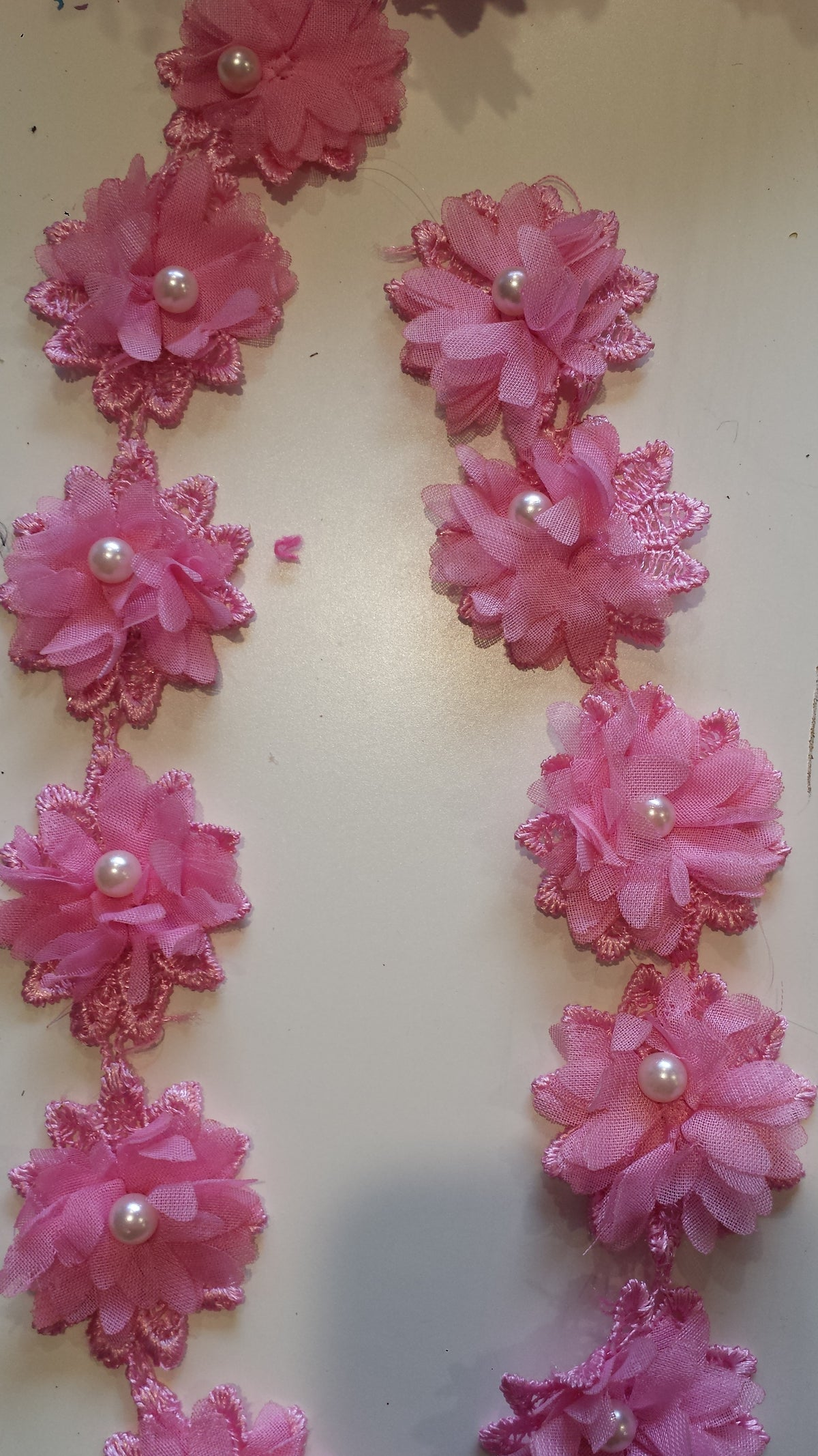 3D Pink Flower Lace Edge Trim