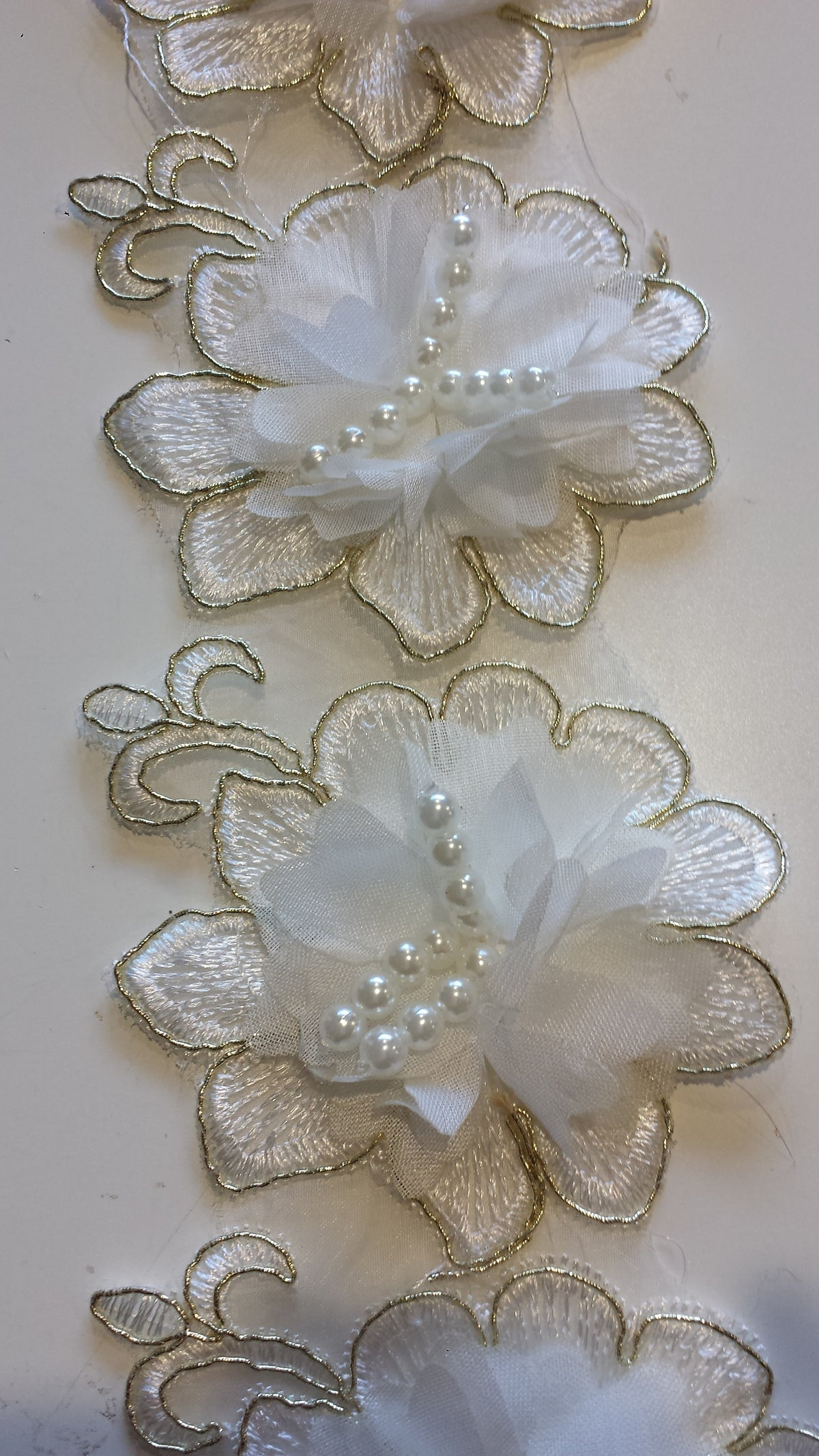 3D flower Embroidery Lace Cream and Gold flower trim