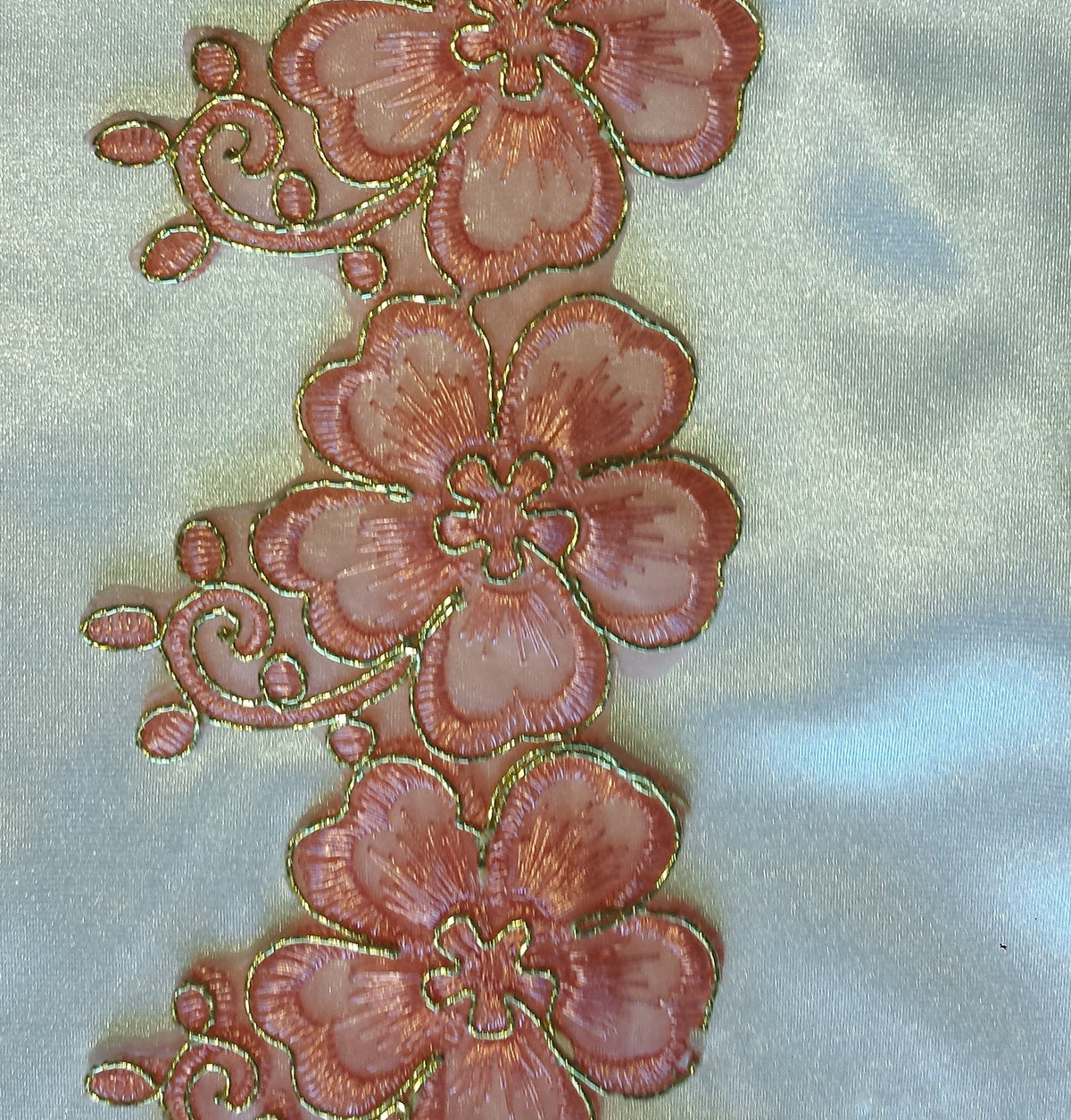 Iron On Embroidery Patchwork Floral Trim - Peach