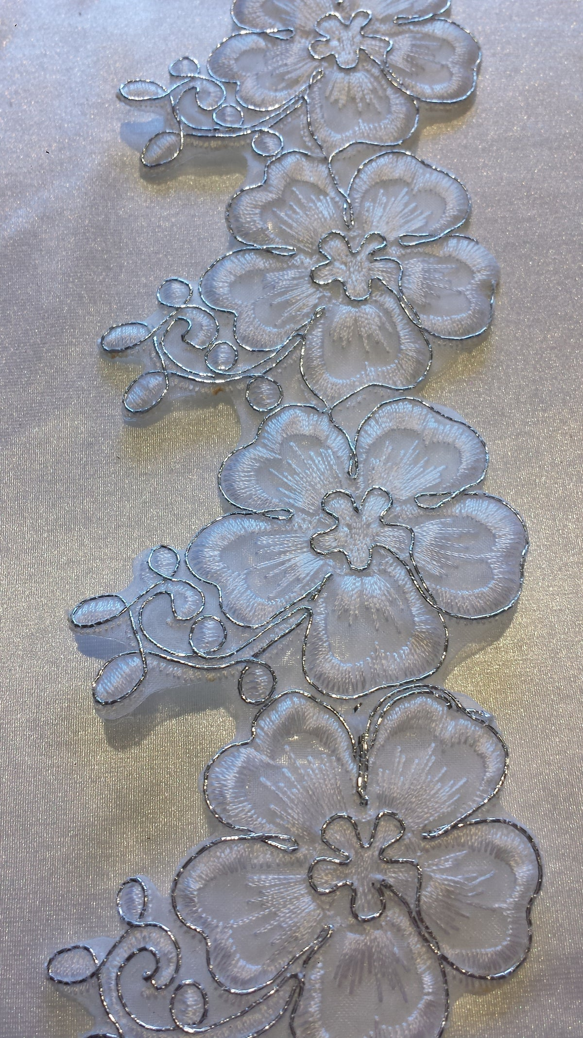 Iron On Embroidery Patchwork Flower Trim- White