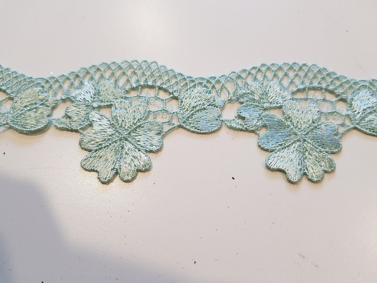 Lace Trim Mint Green