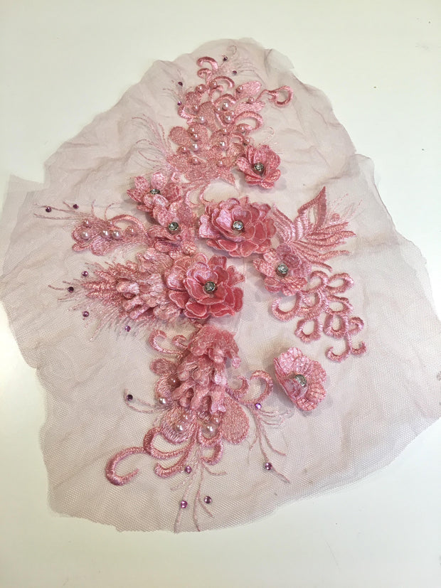 Pink 3 Dimensional lace motiff