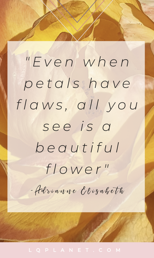 Even when petals have flaws, all you see is a beautiful flower; Quote & photography by Adrianne Elizabeth