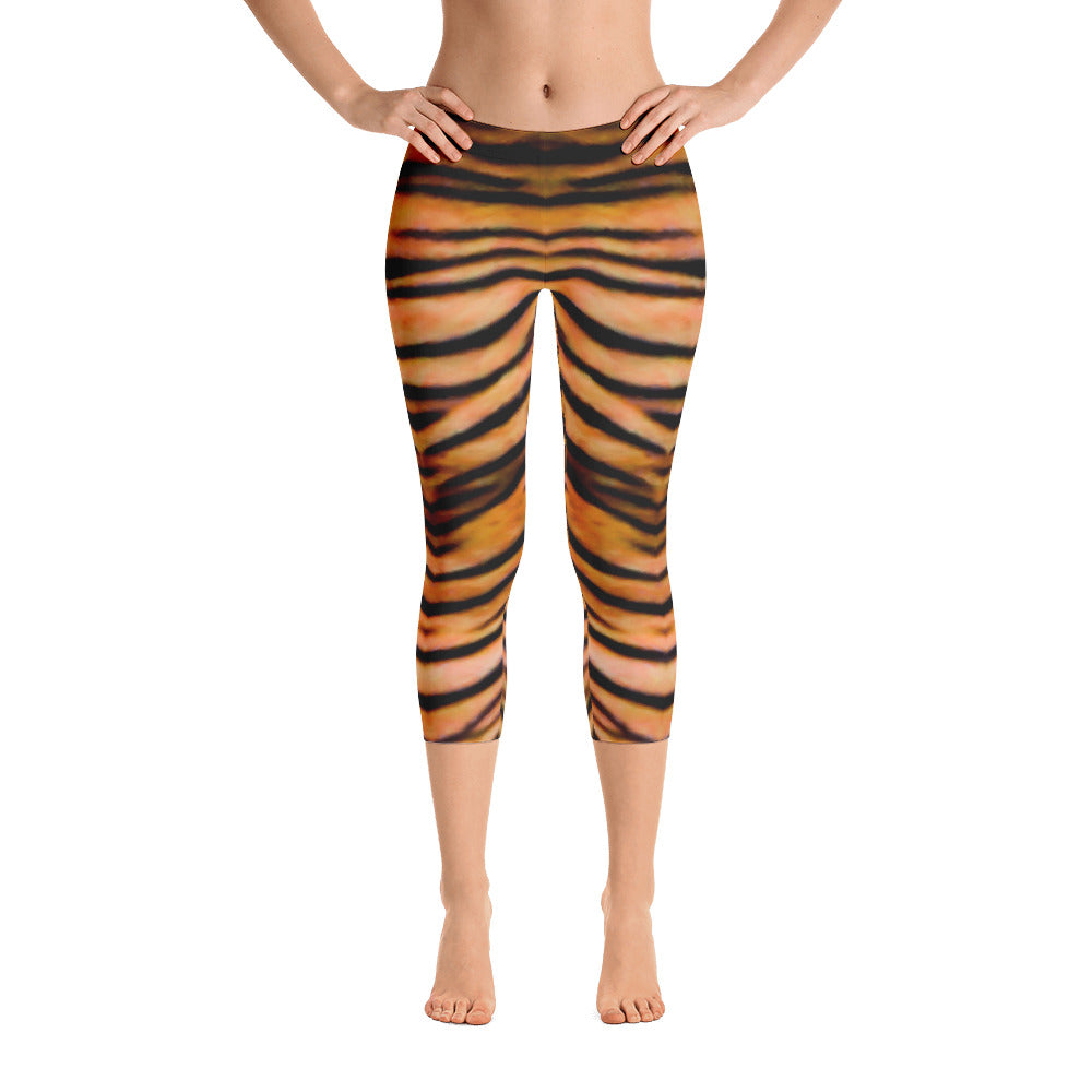 Hear Me Roar - Tiger Printed Capri Leggings