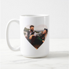 Heart Shaped Photo Template of couple looking and laughing at each other on a basic white 15 oz mug