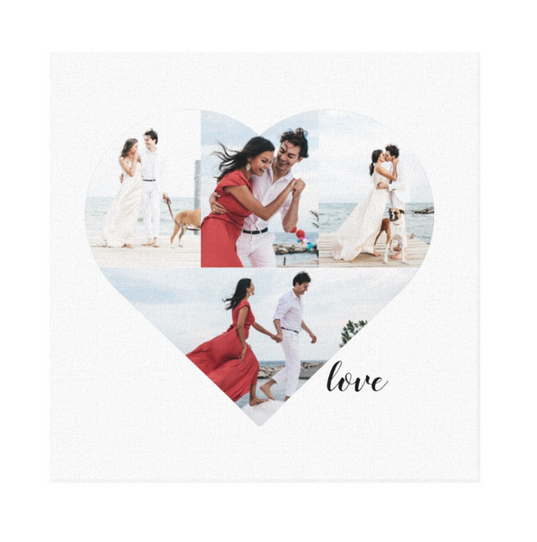 "Heart shaped photo template with 4 fields to place images in on basic white 12""x12"" canvas"