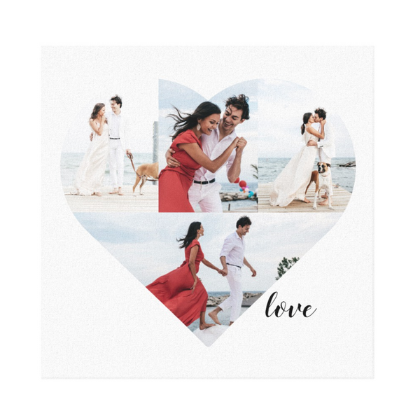 "Heart shaped photo template with 4 fields to place images in on basic white 16""x16"" canvas"