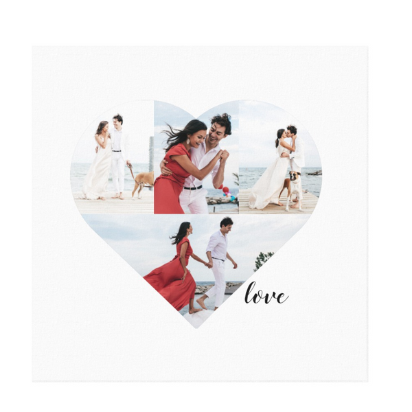 "Heart shaped photo template with 4 fields to place images in on basic white 20"" x 20"" canvas"