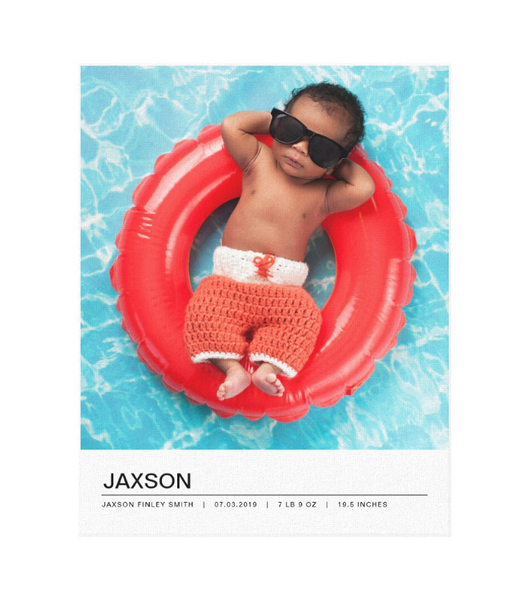 Single Image Baby Announcement with Minimal White Bottom Text Bar Canvas Print, 11x14
