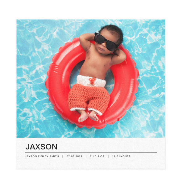 Single Image Baby Announcement with Minimal White Bottom Text Bar Canvas Print, 12x12