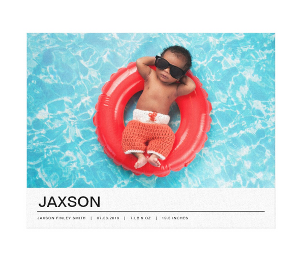 Single Image Baby Announcement with Minimal White Bottom Text Bar Canvas Print, 14x11