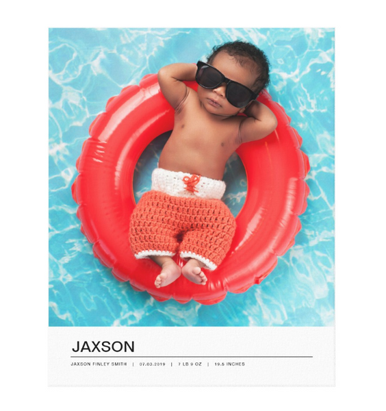 Single Image Baby Announcement with Minimal White Bottom Text Bar Canvas Print, 16x20