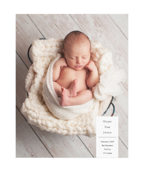 Single Image Baby Announcement with Minimal White Box Text Canvas Print, 11x14