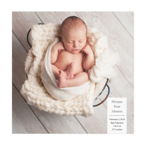 Single Image Baby Announcement with Minimal White Box Text Canvas Print, 12x12