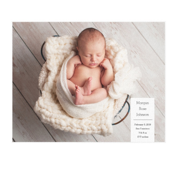 Single Image Baby Announcement with Minimal White Box Text Canvas Print, 14x11