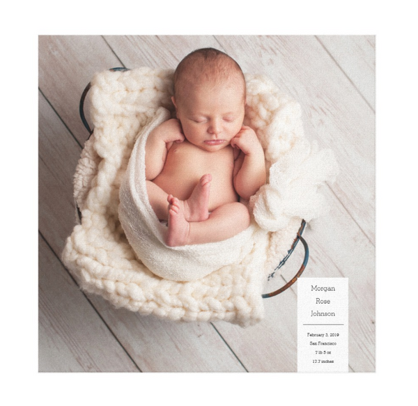 Single Image Baby Announcement with Minimal White Box Text Canvas Print, 16x16