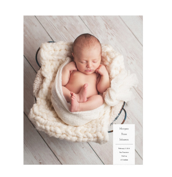 Single Image Baby Announcement with Minimal White Box Text Canvas Print, 16x20