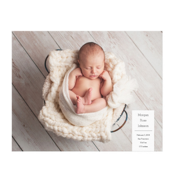 Single Image Baby Announcement with Minimal White Box Text Canvas Print, 20x16