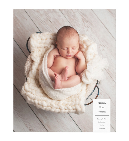 Single Image Baby Announcement with Minimal White Box Text Canvas Print, 20x24